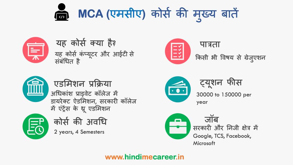 MCA course ki mukhya bate
